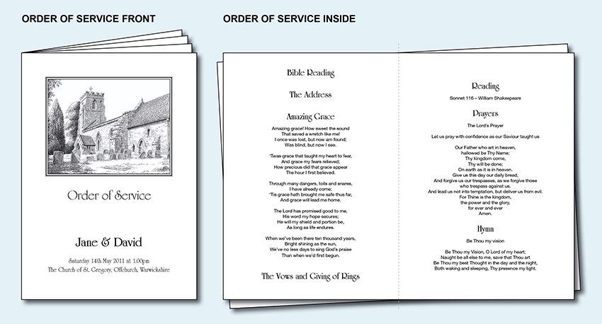 Personalised Wedding Order of Service Day Cover Booklet. Church ...
