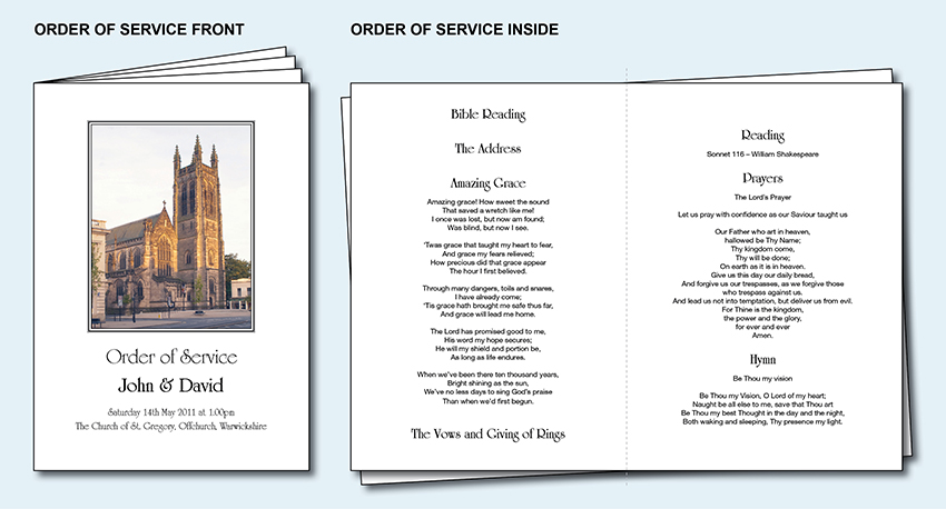 Personalised wedding order of service day cover booklet for Christian wedding order of service template